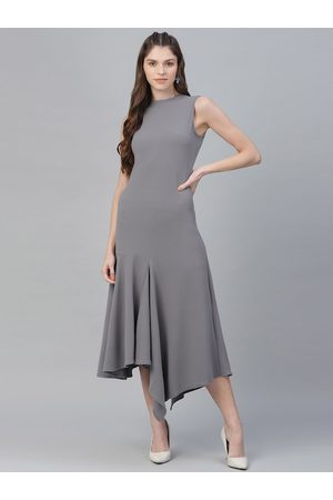 ATHENA Women Grey Self Design Maxi Dress