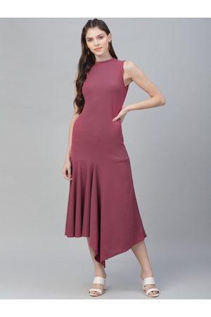 ATHENA Women Mauve Solid A-Line Dress