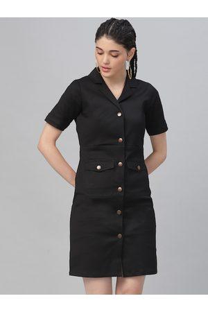 ATHENA Women Black Solid Shirt Dress