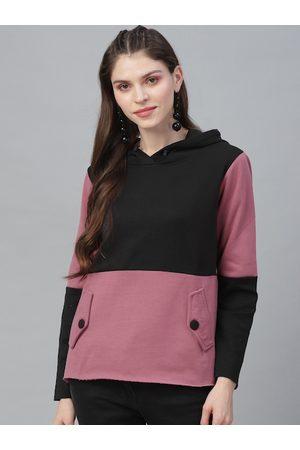 ATHENA Women Pink & Black Colourblocked Hooded Sweatshirt