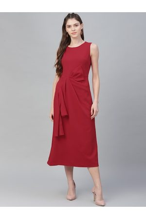 ATHENA Women Red Solid A-Line Dress