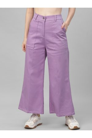 ATHENA Women Lavender Flared Solid Parallel Trousers