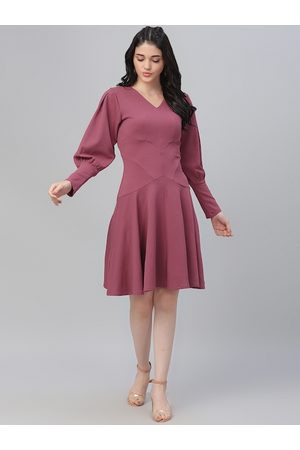 ATHENA Women Mauve Solid Fit and Flare Dress