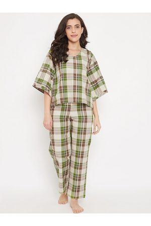The Kaftan Company Women Green & Brown Checked Night Suit