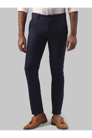 Raymond Weil Men Navy Blue Slim Fit Solid Regular Trousers