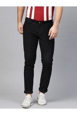 Indian Terrain Men Black Brooklyn Slim Fit Solid Corduroy Regular Trousers
