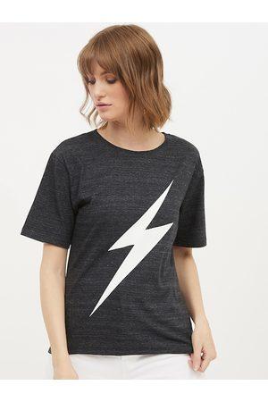 Harpa Women Grey & White Printed Round Neck T-shirt