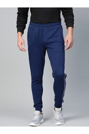 Alcis Men Joggers - Men Navy Blue Solid Joggers with Side Striped Detail
