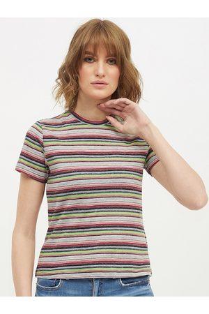Harpa Women Blue & Grey Striped Round Neck T-shirt