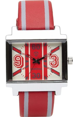 CUSTOM Men Red & Off-White Analogue Watch 8907829042728
