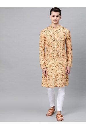 See Designs Men Beige & Orange Printed Kurta with Pyjamas
