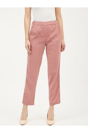 Harpa Women Pink Smart Solid Regular Trousers