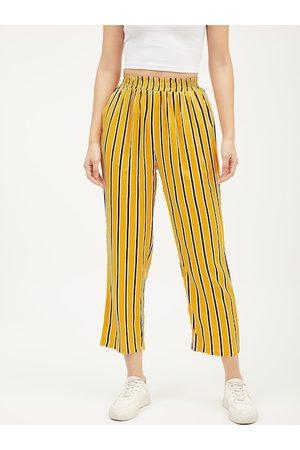 Harpa Women Yellow & White Smart Regular Fit Striped Regular Trousers