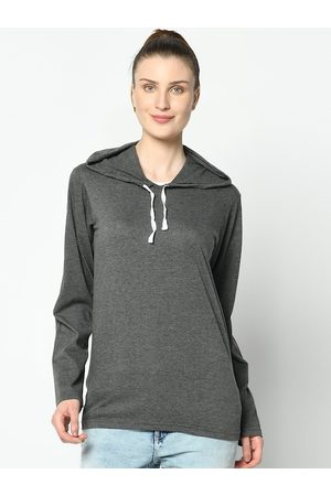 VIMAL JONNEY Women Grey Solid Hood T-shirt
