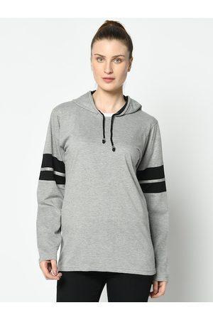 VIMAL JONNEY Women Grey Melange Solid Hooded T-shirt