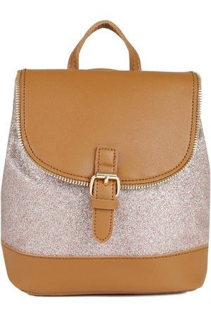 PEOPLE Women Tan Brown & Gold-Toned Colourblocked Backpack
