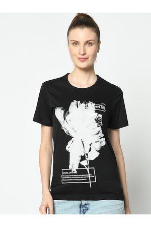 VIMAL JONNEY Women Black & White Printed Round Neck T-shirt