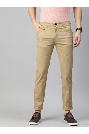 Pepe Jeans Men Beige Slim Fit Solid Chinos