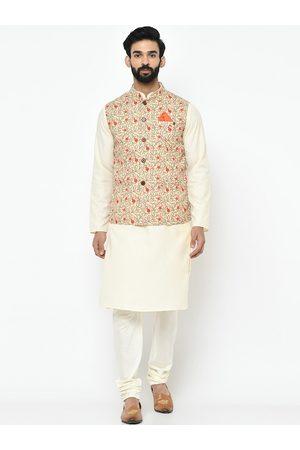 KISAH Men Cream-Coloured & Orange Solid Kurta with Pyjamas