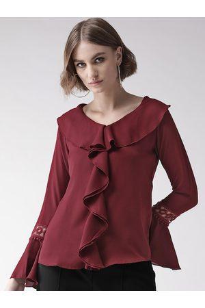 Style Quotient Women Maroon Solid Ruffled Top