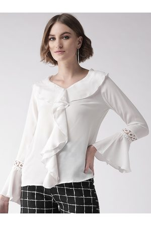 Style Quotient Women White Semi-Sheer Solid Top