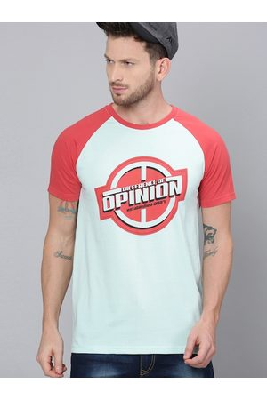 Difference of Opinion Men Blue & Red Printed Round Neck T-shirt