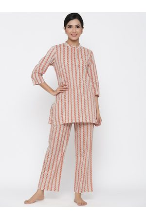 Jaipur Women Brown & White Striped Night suit