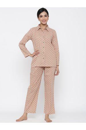 Jaipur Women Beige & Pink Printed Night suit
