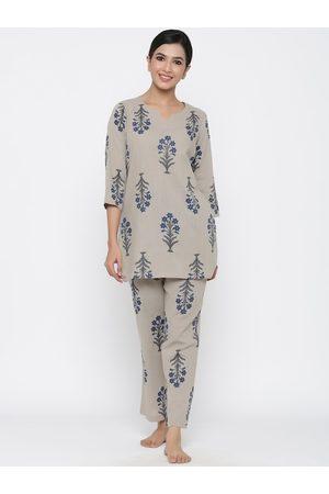 Jaipur Women Grey & Blue Printed Night suit