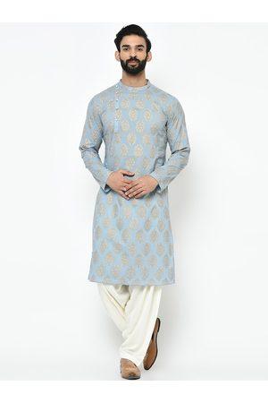 KISAH Men Turquoise Blue & Gold-Toned Embroidered Kurta with Salwar