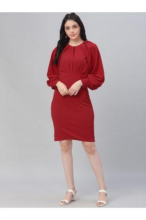 ATHENA Women Red Solid Sheath Dress