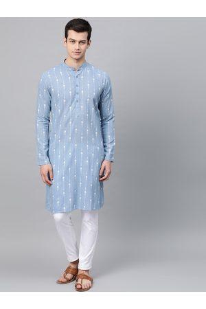 See Designs Men Blue & White Printed Kurta with Pyjamas