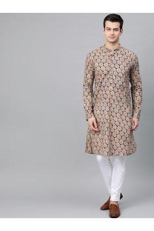 See Designs Men Beige & Blue Printed Kurta with Churidar & Dupatta
