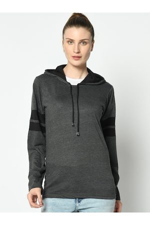 VIMAL JONNEY Women Grey Solid Hooded T-shirt