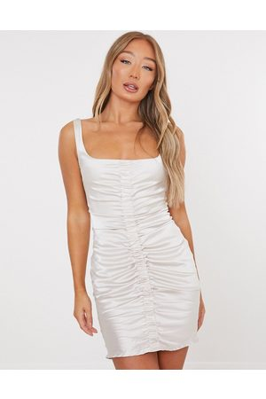 Missguided Women Dresses - Ruched dress in champagne satin