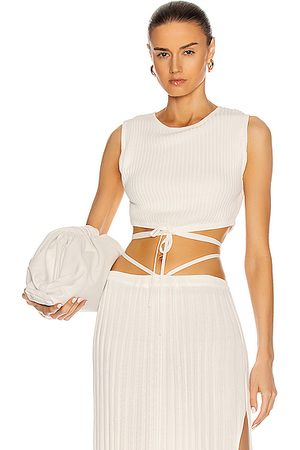 CHRISTOPHER ESBER Sleeveless Knit Tie Crop Top in Natural