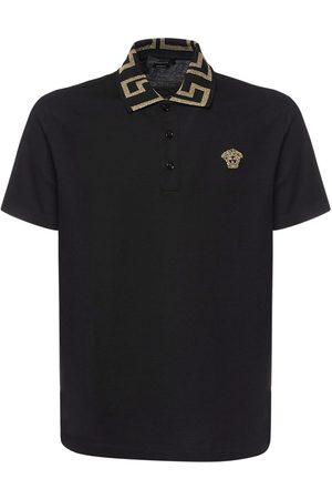 VERSACE Taylor Fit Cotton Polo W/greca Detail