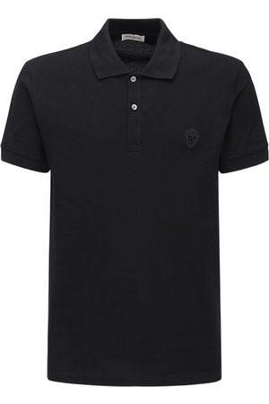 Alexander McQueen Men Polo Shirts - Skull Patch Cotton Polo