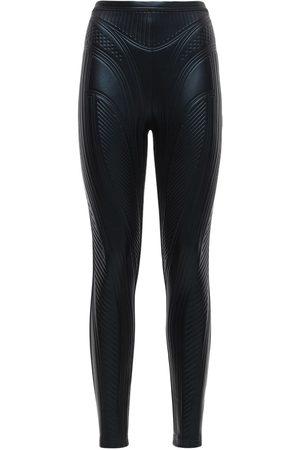 MUGLER Embossed Shiny Stretch Jersey Leggings