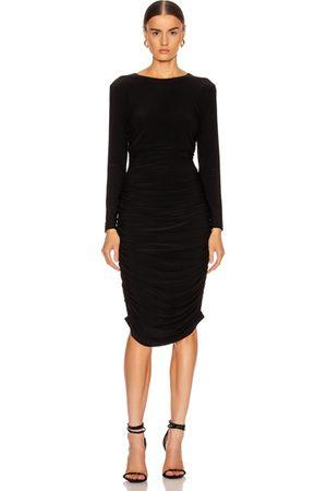 Norma Kamali Long Sleeve Shirred Dress in