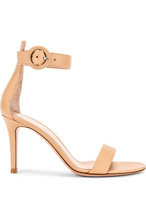 Gianvito Rossi Leather Portofino Heels in Nude