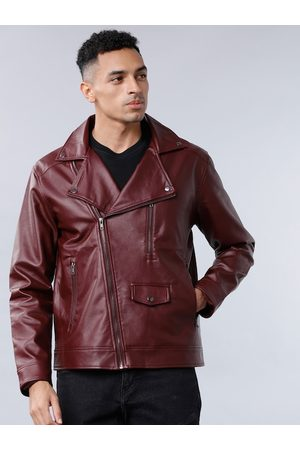 Highlander Men Burgundy Solid Biker Jacket