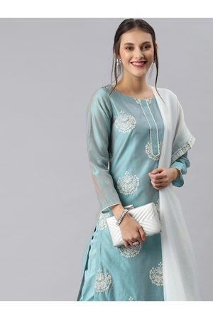 Inddus Women Blue Embroidered Kurta with Trousers & Dupatta