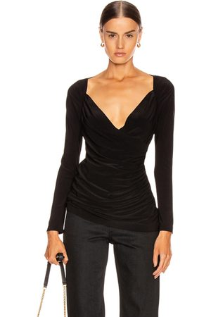 Norma Kamali Women Long Sleeve - Long Sleeve Sweetheart Side Drape Top in