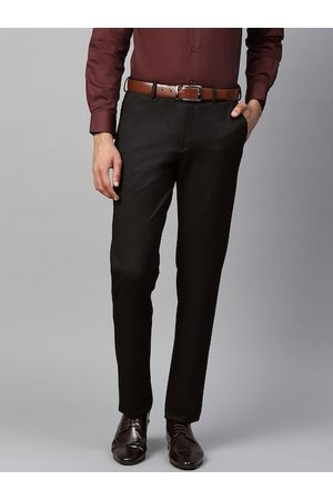 Blackberrys Men Black & Burgundy Skinny Fit Self Design Formal Trousers