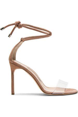 Manolo Blahnik 105 Suede Estro Sandals in Rose Nude Suede