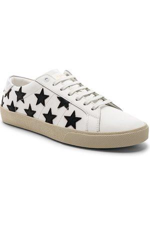 Saint Laurent Leather SL/06 Low-Top Star Sneakers in Optic & &