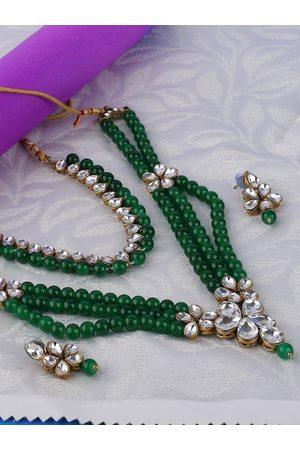 ANIKAS CREATION Gold-Plated Green & White Kundan-Studded & Beaded Multi-Stranded Jadau Jewellery Set
