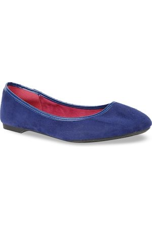 Bata Women Blue Solid PU Ballerinas