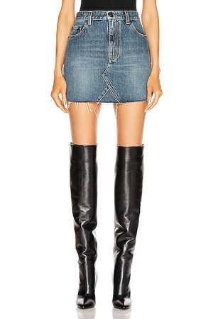 Saint Laurent Women Mini Skirts - Classic Triangle Denim Mini Skirt in Dusk